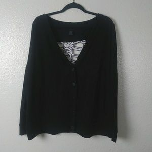 Torrid Black Skeleton Cutout Back Cardigan. Size 3